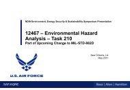 12467 – Environmental Hazard Analysis – Task 210 - E2S2