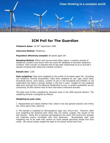 September Poll for The Guardian - ICM Research
