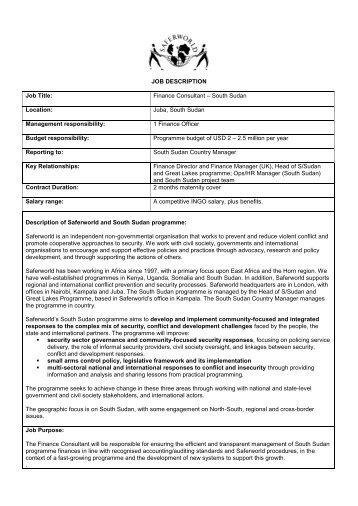 JOB DESCRIPTION Job Title: Finance Consultant ... - Saferworld