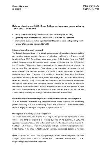 PR Balance sheet report 2012 - Drees & Sommer