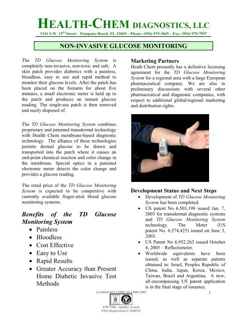 NON-INVASIVE GLUCOSE MONITORING - Health-Chem Diagnostics