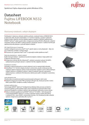 Datasheet Fujitsu LIFEBOOK N532 Notebook - prospeks-it