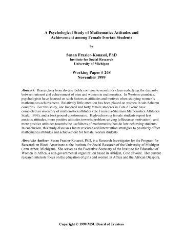 A Psychological Study of Mathematics Attitudes and Achievement ...