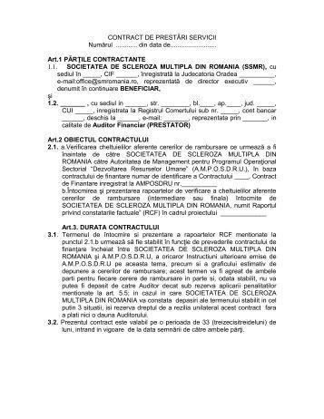 Contract de prestari servicii pentru audit financiar - Societatea de ...