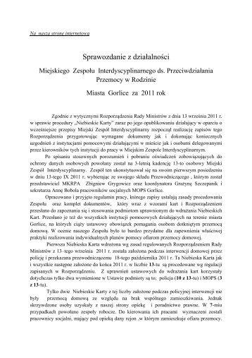 Sprawozdanie z działalności - Miejski Ośrodek Pomocy Społecznej ...