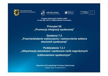Poddziałanie 7.2.1 - Strona Departamentu Europejskiego Funduszu ...