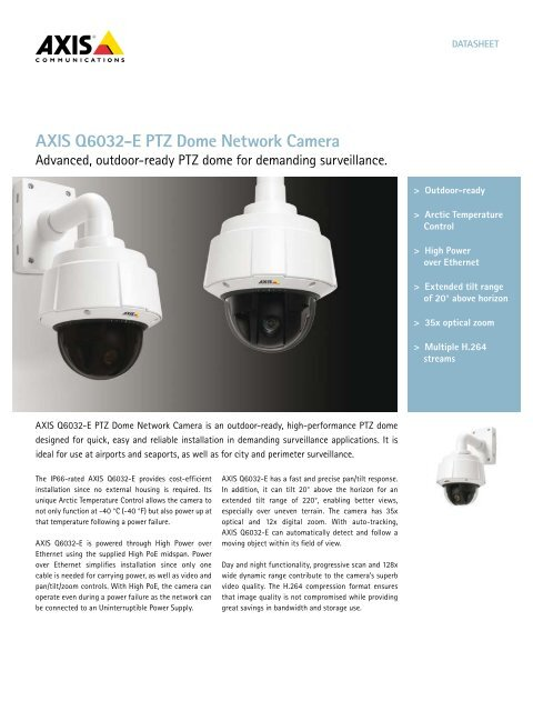 AXIS Q6032-E PTZ Dome Network Camera - IP Way