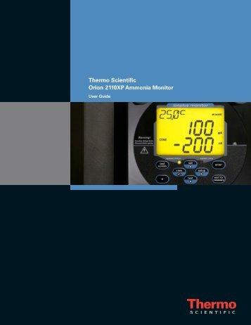 2110XP Ammonia Analyzer User Guide (1574 Kb) - Thermo Scientific