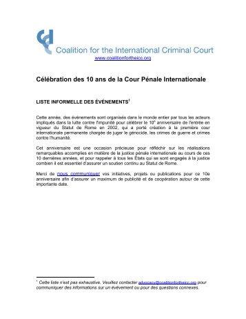 Célébration des 10 ans de la Cour Pénale Internationale