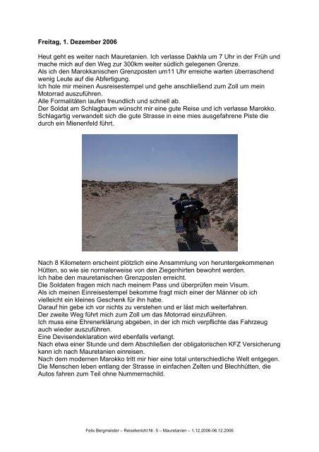 Freitag, 1. Dezember 2006 Heut geht es weiter nach Mauretanien ...