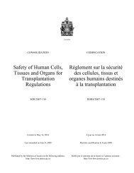 Règlement sur la sécurité des cellules, tissus et organes humains ...