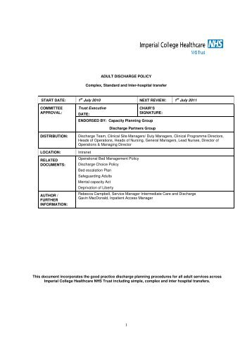 Adult Admission and Discharge Assessment Policy and Form