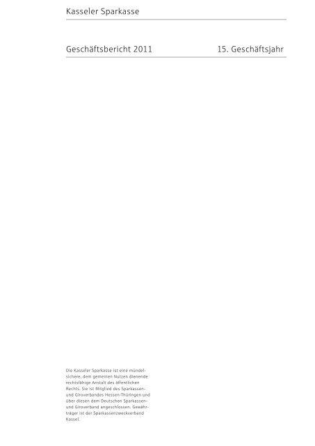 Jahresabschluss zum 31. Dezember 2011 der Kasseler Sparkasse ...