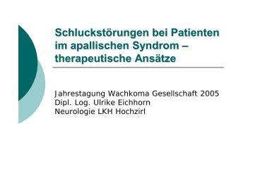 Schluckstörungen bei Patienten im apallischen Syndrom ...