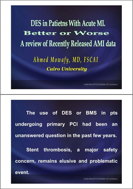 Safety as regards stent thrombosis