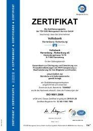 ZERTIFIKAT - Volksbank Herrenberg-Rottenburg eG