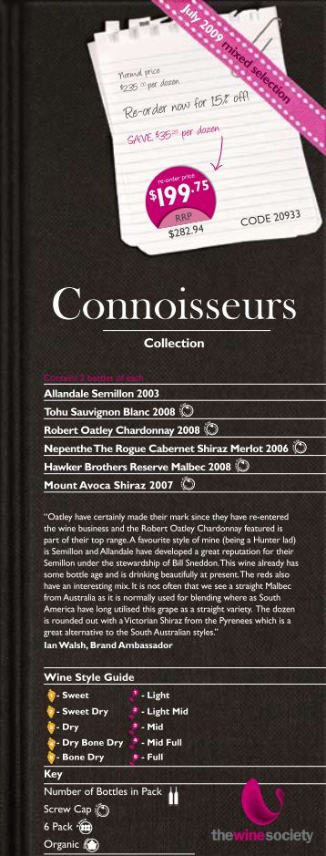 Connoisseurs Selection July 2009 - Mixed - The Wine Society