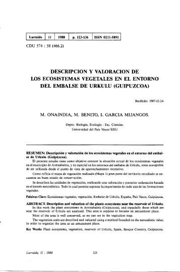 Descripción y valoración de los ecosistemas vegetales en ... - ingeba
