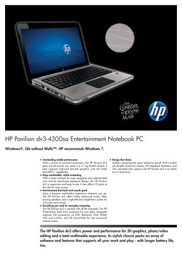 PSG Consumer 1C11 HP Notebook Datasheet - Box.co.uk