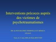Interventions précoces auprès des victimes de psychotraumatismes