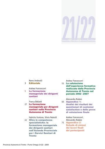 Formazione manageriale dei dirigenti sanitari - Trentino Salute