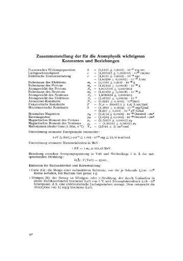 Zusammenstellung der für die Atomphysik wichtigsten ... - Springer