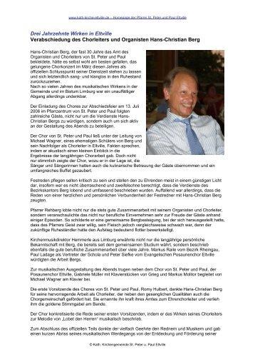 Drei Jahrzehnte Wirken in Eltville - Verabschiedung von Hans