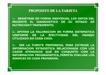 Tarjetas de Registro y Control de la Nutrición