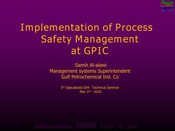 Implementation of Process Safety Management at GPIC