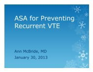 ASA for Preventing Recurrent VTE
