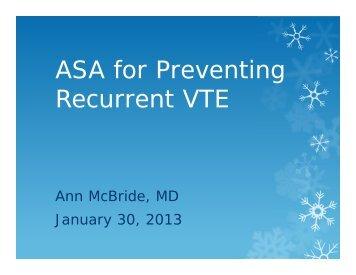 ASA for Preventing Recurrent VTE
