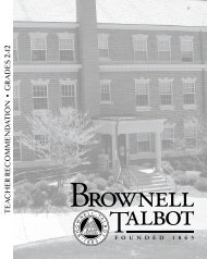teacher recommendations - Brownell-Talbot School