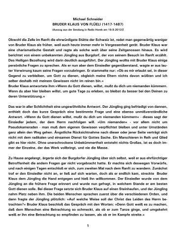 1 Michael Schneider BRUDER KLAUS VON FLÜELI (1417 ... - Kath.de