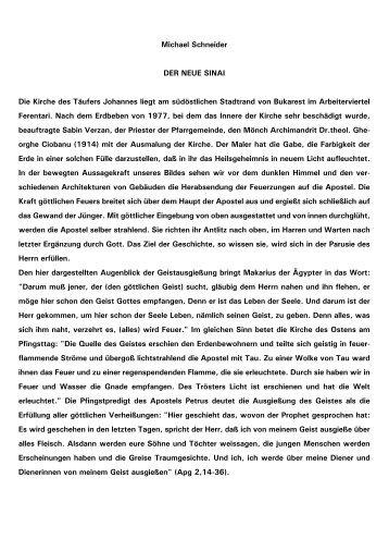 Michael Schneider DER NEUE SINAI Die Kirche des Täufers - Kath.de