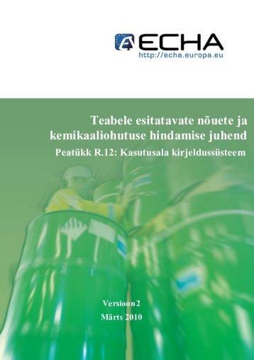 Teabele esitatavate nõuete ja kemikaaliohutuse ... - Terviseamet