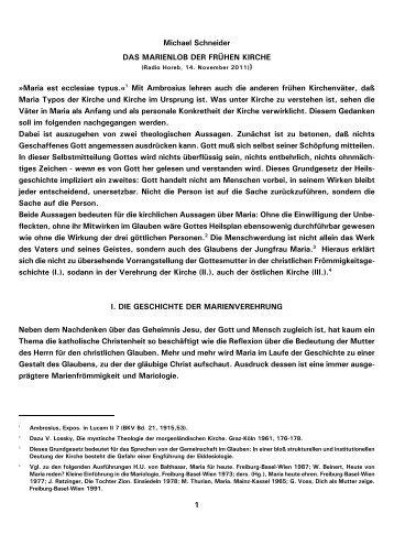 1 Michael Schneider DAS MARIENLOB DER FRÜHEN ... - Kath.de