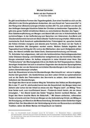 Michael Schneider Beten mit den Psalmen III Es gibt ... - Kath.de