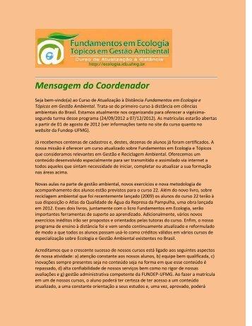 Curso de Extensão via Internet - Ecologia e Gestão Ambiental - UFMG