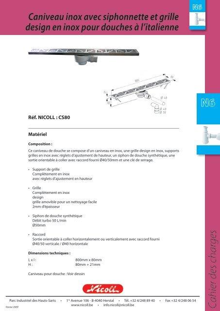 Caniveau Inox Pour Douche A L Italienne Nicoll Cs80 Bigmat