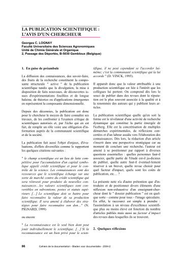 la publication scientifique - ABD-BVD