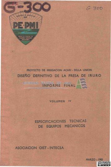 disero definitivo de la presa de iruro informe final especificaciones ...