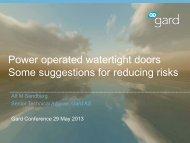 Dangers of power operated watertight doors - Gard