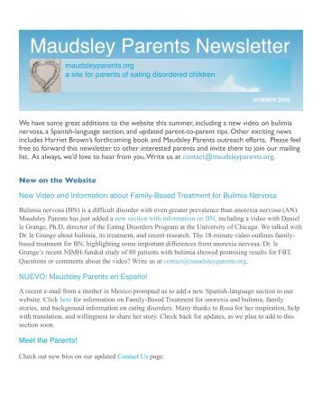 Summer 08 - Maudsley Parents Newsletter