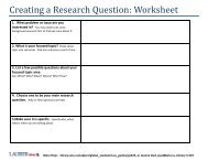 Creating a Research Question: Worksheet