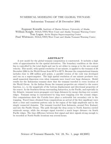 Numerical Modeling of the Global Tsunami: Indonesian ... - SFOS