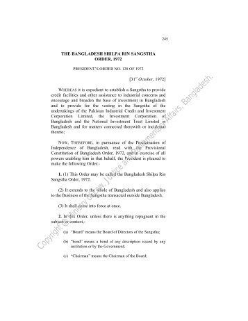The Bangladesh Shilpa Rin Sangstha Order, 1972 - Laws of ...