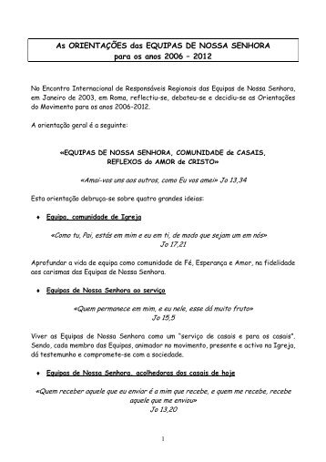 Carta de Lourdes - Equipes Notre-Dame