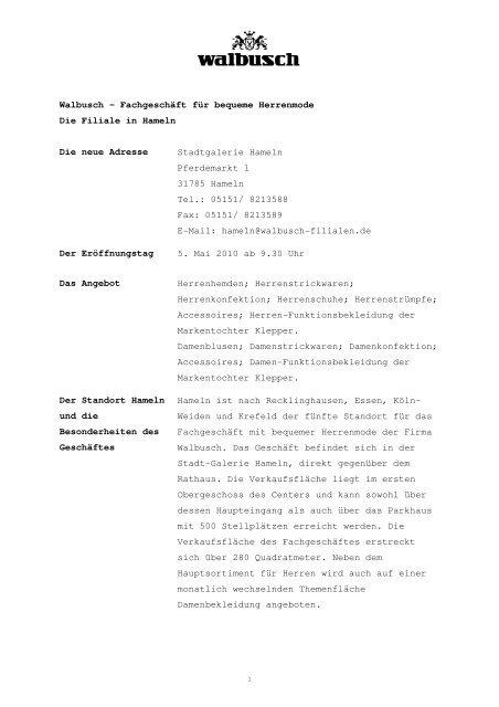 offizieller Laden elegant im Stil Entdecken Walbusch – Fachgeschäft für bequeme Herrenmode Die Filiale ...