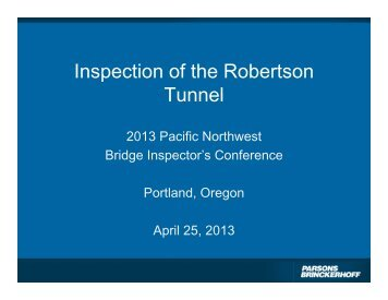 Inspection of the Robertson Tunnel - WSU Conference Management