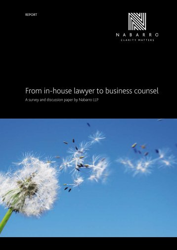 From in-house lawyer to business counsel - Nabarro